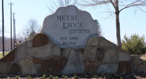 Sign of Middle Ridge Gardens, Madison, Ohio