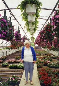 Grandma at greenhouse Middle Ridge Gardens, Madison, Ohio